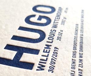 Kaart Hugo gedrukt in letterpress